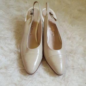 Chanel classic cream and white cap toe slingbacks